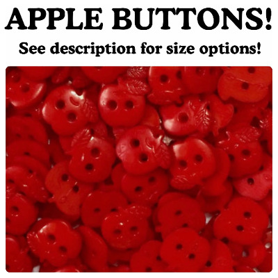 $4.95 • Buy Apple Buttons 2 Hole Small Large Sewing 12mm 16mm Red Apples