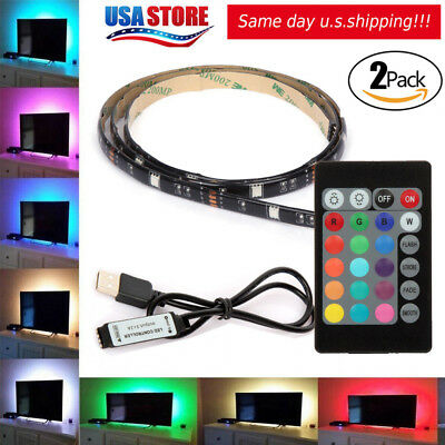 $8.99 • Buy 2Pcs USB Powered RGB 5050 LED Strip Lighting For TV Computer Background Light 1M