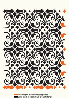 Ornametns Stencil Lace Allover Pattern Paint Wall Furniture Reusable Craft TE301 • 5.49£
