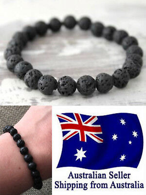 AU4.95 • Buy New Chakra Bracelet Healing Lava 8mm Black Bead Oil Diffuser Aromatherapy 1pc