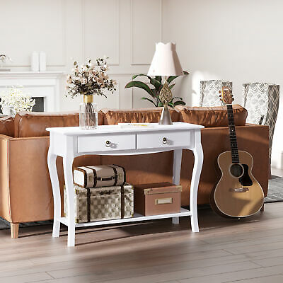 Console Table Dressing Desk Stunning Kitchen Hall 2 Drawers Modern Shelf White • 79.99£