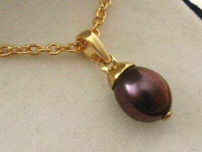 AU89 • Buy GENUINE 9K 9ct SOLID Yellow Gold NATURAL BLACK PEARL PENDANT