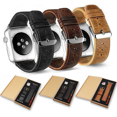 AU14.55 • Buy 38/40/42/44mm Genuine Leather Wrist Band Strap For Apple Watch IWatch All Series
