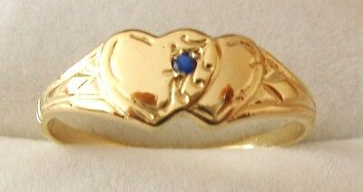 AU145 • Buy SOLID 9K 9ct SOLID GOLD DOUBLE HEART SAPPHIRE LOVE SIGNET RING Size J/5 To N/7