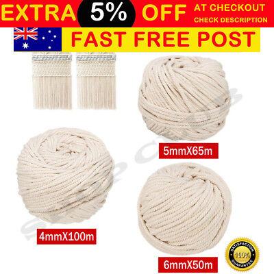 AU20.50 • Buy 4/5/6mm Macrame Rope Natural Beige Cotton Twisted Cord Artisan Hand Craft New