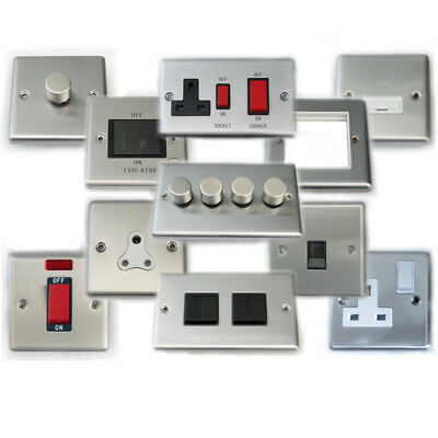 £3.50 • Buy Socket Plate Switch Brushed Chrome Light USB Phone Connector Plug Phone Wiring