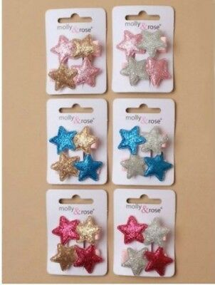 $ CDN5.16 • Buy Ladies Girls Kids Pair 3.5cm Glitter Double Star Hair Clips Grips Pink Blue