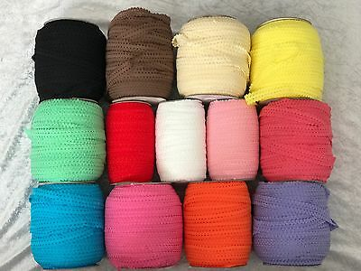 Soft Double Ruffle Fold Over Lace Elastic Roll 2 Metres 20mm FOE Trim Ribbon Lot • 2.75£