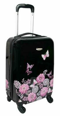 Hard Shell Black Floral Butterfly 4 Wheel Spinner Cabin Trolley Luggage Suitcase • 26.99£