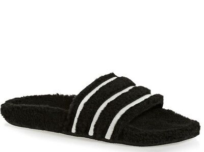a38f0074fd0 9 New WOMENS Adidas ADILETTE Velour Sandals Slides Flop Flops Black White  CQ2234 • 52.47