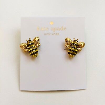$ CDN26.29 • Buy Kate Spade Gold Tone Crystal Pave Bee Stud Earrings On Card W/ Gift Box