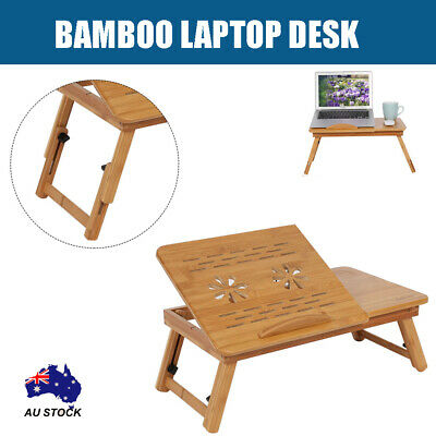 AU26.99 • Buy Bamboo Foldable Laptop Bed Cooling Holder Desk Multi Function Table Stand AU