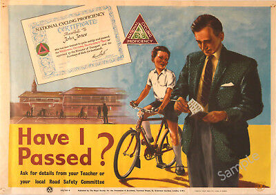 VINTAGE POSTER Cycling Proficiency Badge FUNNY Cyclist Bike Bicycle PRINT A3 A4 • 3.99£
