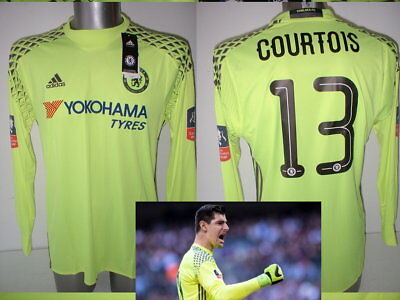 Chelsea Courtois Adidas BNWT Adult M L FA Cup 2017 Soccer Shirt Jersey Belgium • 54.99£