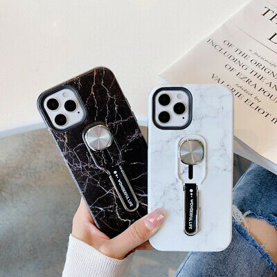 AU5.56 • Buy For Apple IPhone X 6s 7 8 Plus Marble Hard Shell With TPU Ring Holder Case Cover