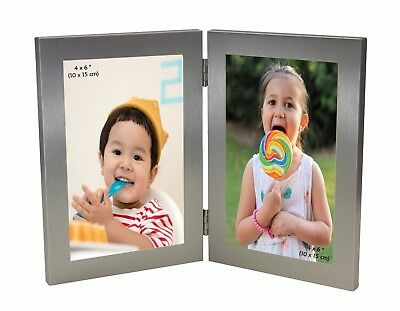 Silver Twin 2 Picture Vertical Double Hinged Folding Photo Frame 6 X 4 Gift 4x 6 • 9.99£