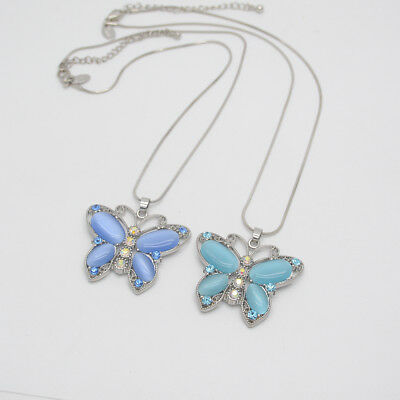 $ CDN11.75 • Buy Lia Sophia Jewelry Cut Crystals Opal Butterfly Pendant Necklace Silver Plated