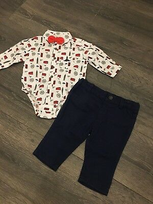 £15.99 • Buy Baby Babies Boy Boys 2 Piece Outfit Navy Red White Shirt London Bus Big Ben Tie