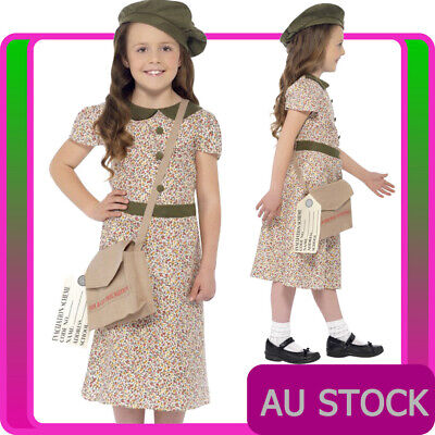 Girls Evacuee School Girl Costume War Time 40s WW2 Olden Day Book Week Dress • 19.68£