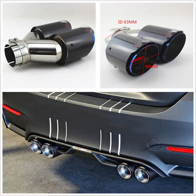$ CDN120.42 • Buy Glossy 100% Real Carbon Fiber Dual Exhaust Pipe Tail Muffler Tip 63mm-I /89mm-O