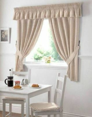 £13.49 • Buy Gingham Check Beige White W46 X L48  Pencil Pleat Kitchen Curtains With Tiebacks