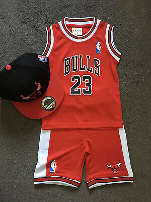 AU25.95 • Buy Au Stock BABY Kids NBA Basketball Jersey Top Shorts Red Bulls #23 Michael Jordan
