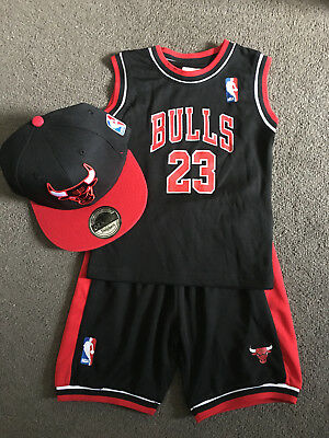 AU25.95 • Buy BABY Kids NBA Basketball Jersey Top Shorts Black Bulls #23 Michael Jordan