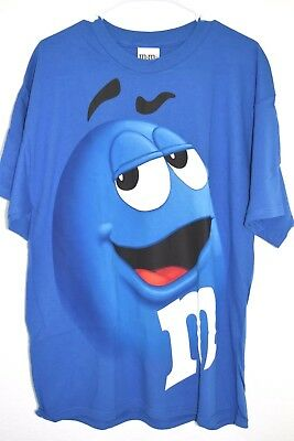 $16.99 • Buy New M&M's Candy Silly Face Blue Adult T-Shirt