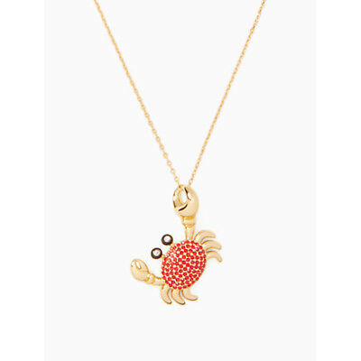 $ CDN28.54 • Buy Kate Spade Gold Tone Shore Thing Red Crab Crystal Pendant Necklace W/ Gift Box