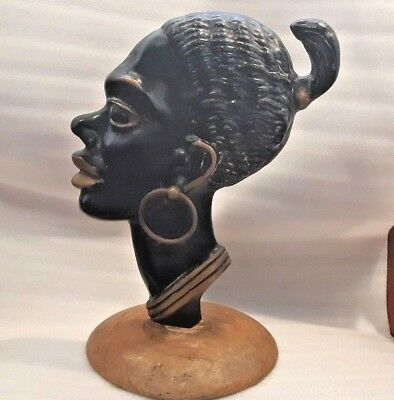 $220 • Buy ISRAEL Rare And Large HAKULI Solid Beronze Plaque Of African Woman Head Figurine