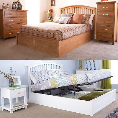 Madrid Wooden Ottoman Storage Bed Gas Lift Up 4ft6 Double 5ft King Oak White • 293.49£