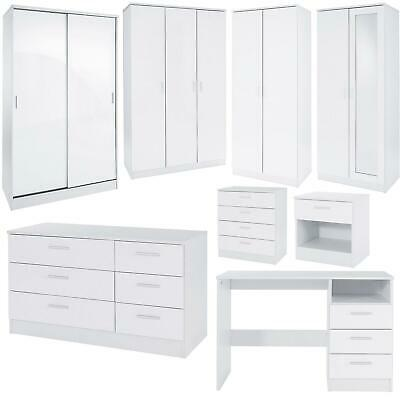 £88.99 • Buy Bedroom Furniture 3 Piece Set White Gloss Bedside Drawer Chest Table Wardrobe