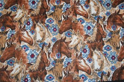 $11.99 • Buy HORSES HEADS Collage Southwest Native Accents Flannel Fabric BTY OOP Early 2000s