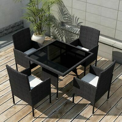 AU463.99 • Buy VidaXL Outdoor Dining Set 9 Piece Poly Rattan Black Glass Top Table Chairs