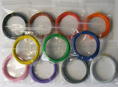 110m 1/0.6mm Equipment Wire Kit 11 Colours 22-23 AWG Single Solid Core WP-011818 • 14.69£