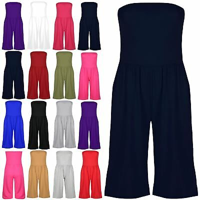 Plus Size Womens Ladies 3/4 Knee Length Boobtube Playsuit Jumpsuit All In One • 8.49£