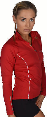 More Mile Vancouver Womens Thermal Running Top Red Half Zip Long Sleeve Jersey • 12.99£