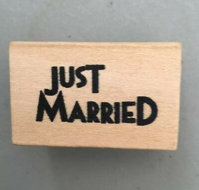 East Of India 'Just Married' Wooden Rubber Stamp - Craft • 1.99£