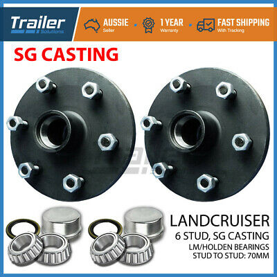AU82.44 • Buy Pair Landcruiser 6 Stud Trailer Hubs 6/139.7 With Holden LM Bearings. SG CASTING