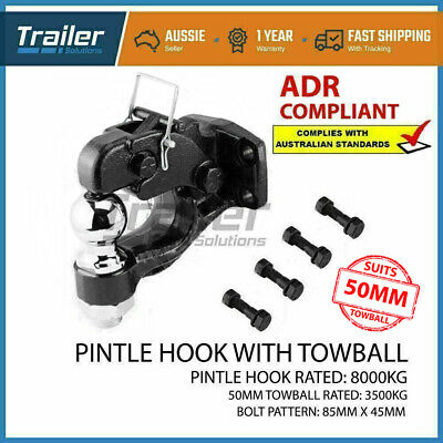 AU95.23 • Buy 8000kg Pintle Hook With Combination 50mm Tow Ball Rated 3500kg HITCH TRAILER 4WD