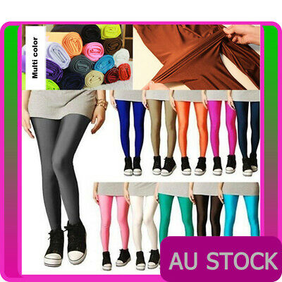 AU9.99 • Buy 80s Shiny Neon Leggings Stretch Fluro 1980s Pants Gym Yoga Dance Party Costume