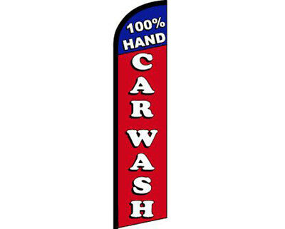 100% Hand Car Wash Blue/Red/White Windless Banner Advertising Marketing Flag • 17.47£