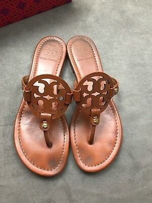 ca734e75a TORY BURCH Miller Vintage Vachetta Brown Cognac Leather Thong Sandal Sz 8.5  L28 • 124.99