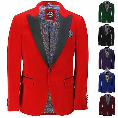 $ CDN132.73 • Buy Mens Velvet Tuxedo Dinner Jacket Retro Smoking Coat Formal Tailored Fit Blazer