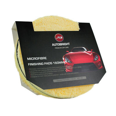 Microfibre Finishing Pads 160mm 6 Inch 2 Yellow Machine Polishing Car Detailing • 11.95£