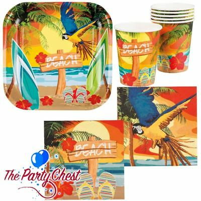 HAWAIIAN TROPICAL FIESTA TABLEWARE Hawaiian Luau Summer BBQ Party Supplies 524 • 2.45£