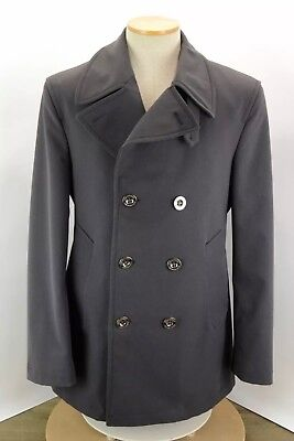 $443.01 • Buy Burberry London Charcoal Grey Doule Breasted Peacoat Jacket Lined Men's Medium
