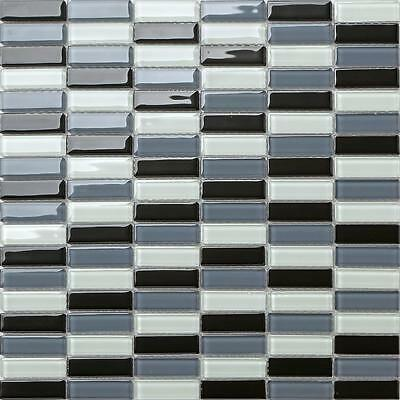 Quality Glass Mosaic Wall Tiles Black Grey & White (300x300x4mm) GTR10015 SHEET • 3.57£