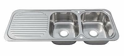 Stainless Steel Reversible 2.0 Double Two Bowl Inset Kitchen Sink Drainer (E10) • 134.98£