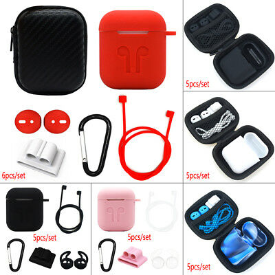 AU4.65 • Buy For Apple AirPods Accessories Silicone Cover Case With Anti Lost Strap Hook Kit